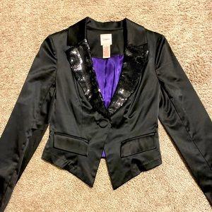 Black sequins lapel blazer - small